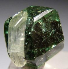 Diopside on Tsavorite from Merelani Hills, Arusha, Tanzania / Mineral Friends <3