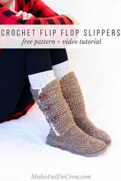 """In Part 3 of the free Breckenridge Boots pattern and video tutorial, we'll add """"sheepskin"""" trim and toggle buttons to finish off our crochet sweater boots. Made with Lion Brand Wool Ease Thick and Quick Bonus Bundle in """"Toffee."""""""