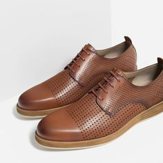 Image 3 of PERFORATED LEATHER SHOES from Zara