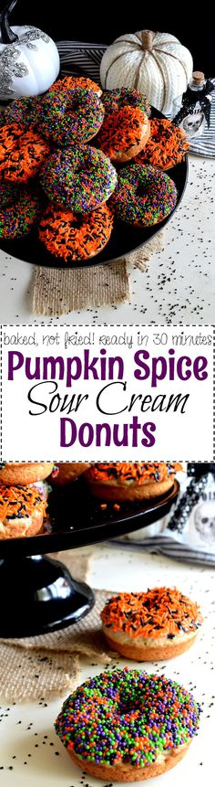 Homemade donuts don't have to be complicated. Take these Pumpkin Spice Sour Cream Donuts, for example; they are moist and flavourful and take very little effort. With or without candy sprinkles, these are the perfect donuts for any occasion. Pumpkin Recipes, Fall Recipes, Holiday Recipes, Easy Desserts, Delicious Desserts, Dessert Recipes, Yummy Food, Donut Recipes, Baking Recipes