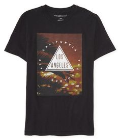 """Even if you hail from the East, you can still nail a sick West Coast look with our Los Angeles Triangle Graphic T! The softly sueded fabric is printed with tropical palm silhouettes, as well as a slick triangle and Los Angeles California text. Pair it with vibrant boardshorts and sandals -- and don't forget your waymax shades!<br><br>Authentic fit. Approx. length (M): 28.5""""<br>Style: 8357. Imported.<br><br>100% cotton.<br>Machine wash/dry."""