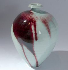 Ceramics by Bridget Drakeford at Studiopottery.co.uk - 2009. Bottle with celadon and red glaze.