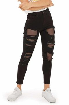 Topshop Jamie Black Fishnet Rip Skinny Jeans
