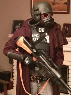 Mask has glowing lenses and fan. Hemet has working LED camera and travel lights. Ncr Ranger, Anti Materiel Rifle, Fallout Cosplay, Airsoft Gear, Travel Light, Propagation, Eminem, Dune, Lenses