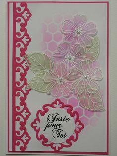 184 spellbinders parisian motifs, stencil tim holtz, distress, stampin up flowers on vellum, sentiment la compagnie des elfes