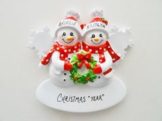 Personalized Couple Ornament - Personalized Snow Couple Ornament - Personalized 1st Christmas Together Ornament by OrindasOrnaments on Etsy