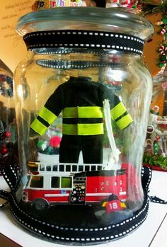 +OOAK+DiY+firefighter+firetruck+fire+Dpt++3D+Home+glass+Dome+Centerpiece+