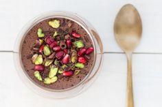 vegan chocolate mousse aquafaba close up