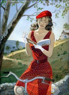 JEAN PIERRE GIBRAT ; woman reading on bicycle.