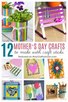 12 Mother's Day Crafts to Make with Craft Sticks - Make a popsicle stick photo frame, an earring holder, a coaster, or even a flower pot that moms will love Homemade Mothers Day Gifts, Mothers Day Crafts For Kids, Crafts For Teens To Make, Diy Gifts For Kids, Fathers Day Crafts, Popsicle Stick Crafts, Craft Stick Crafts, Preschool Crafts, Craft Sticks
