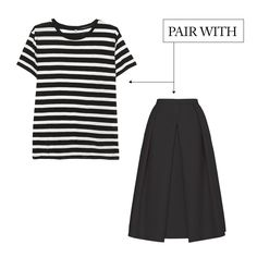 6 Ways To Wear Black Now | The Zoe Report-The Black Skirt/Jacquard Full Skirt, Tibi $395, Stripe T-Shirt, R13 $195