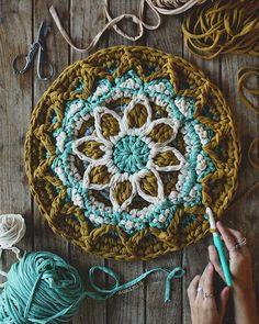 // m o r o c c a n  m a n d a l a // #susimiu #mandala #crochet #ganchillo #trapillo #cute #design #blue #handmade #tshirtyarn #photography #instagram #instacrochet