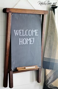 Turn an old wooden camp stool into a funky, fun wall chalkboard! See how I did it at Knick of Time! Retro Home Decor, Vintage Decor, Chalk It Up, Chalk Talk, Chalk Board, Camping Stool, Chalk Design, Garage Sale Finds, Repurposed Items