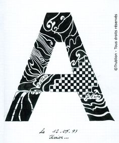 Trublion's Work : Grande lettre majuscule A, Lettrine dessinée à la plume en encre de chine. Alphabet. réalisation au trait sur feuille d'écolier format A4 dessin