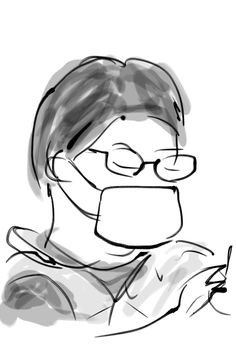 "I drew a man on metro in Tokyo April 13 on Saturday 2013.I use iPhone app ""Zen Brush""."