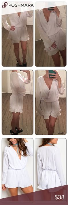 White long sleeve v-neck ruffle romper Beautiful white long sleeve romper! Nice and light could definitely be worn spring & summer. Im modeling a small in the photos (110lbs , petite, 5'2) unfortunately for me these run a tad big. Im usually a small. This small is more like a S/M. I can do my best to help with sizing if you have questions Pants Jumpsuits & Rompers