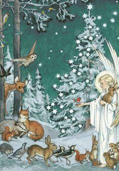 Illustration by Molly Brett. Vintage Christmas Images, Christmas Pictures, Christmas Scenes, Christmas Angels, Christmas Poinsettia, Crochet Christmas, Christmas Illustration, Art And Illustration, Whimsical Art