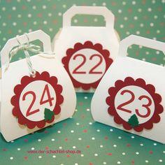 Adventskalender aus Handtaschen Schachteln