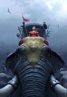 38 illustration & Concept Art by Nikita Veprikov 3d Fantasy, Fantasy Warrior, Fantasy Artwork, 3d Artwork, Dark Fantasy, Zbrush, War Elephant, 3d Studio, Bd Comics