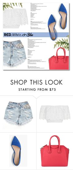 """Red, White and Blue Fashion (Top Set for July 1st)"" by antemore-765 ❤ liked on Polyvore featuring Miguelina, J.Crew, Givenchy, redwhiteandblue and july4th"