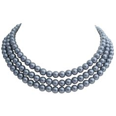 Price :$11.49 Vintage Tripple Strand Necklace In Medium Gray Pearls For Mother Gift Material : Faux Gray 8mm Pearls  Color : Gray  Necklace Length : Outer length 17 inches middle strand length 16 inches & first strand 15 inches with 3 inches extension
