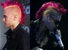 We miss Jared Leto's Red Passion mohawk! Jared Leto Pink Hair, Manic Panic Red, Passion Hair, Semi Permanent Hair Dye, Rainbow Hair, Gorgeous Men, Hairdresser, Dyed Hair, Health And Beauty