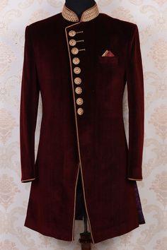 Maroon & gold pure velvet stylish indo western sherwani-IW511 - IndoWestern Sherwani/Achkans - Sherwani - Men's Wear