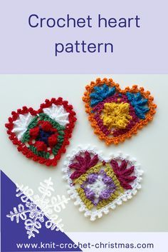 Free pattern and videotutorial for crochet heart. Use hearts for Christmastree, cards or gift tags or join them for window decoration or bunting.