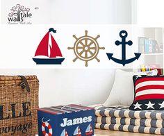 Nautical+Set+of+Sailboat+ship+wheel+by+nauticalnurserydecal,+$40.00