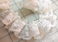 White Floral Ruffle Lace   2 inch wide   1 yard