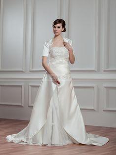 Strapless Princess Satin Wedding Dress with Short Sleeved Bolero