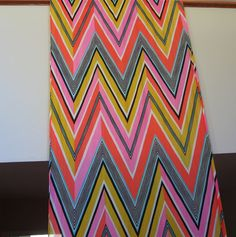 "VINTAGE LATE 60s/ EARLY 70s NYLON KNIT FABRIC-ZIGZAG PATTERN-8  1/3 YARDS!-48"" W"