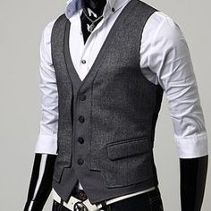 Cheap Vests, Buy Directly from China Custom Made Dark Gray Mens Vests Slim Fit Wedding Prom Dinner Suit Waistcoats Handsome Vest For Man gilet costume colete Mens Designer Vests, Designer Clothes For Men, Clothes For Women, Urban Fashion, Mens Fashion, Fashion Outfits, Fashion 2016, Grey Vest Mens, Urban Look