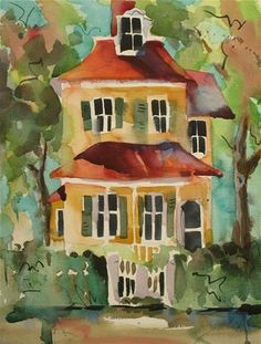 """Daily Paintworks - """"Cape May Cottage"""" - Original Fine Art for Sale - © Jinnie May"""