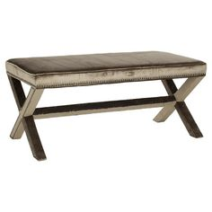 A perfect addition to your entryway or master suite, this birch wood bench showcases velvet-inspired upholstery and nailhead trim.    Pro...