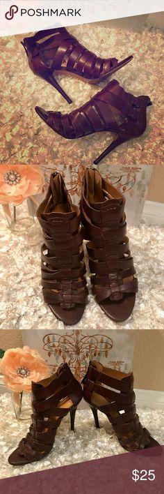 "Nine West Anthurium Heel Gladiator Dark Brown 7M NINE WEST Gorgeous Nine West Dark Brown Leather Strappy Heels Zip up Worn 2-3 times Round open toe. 4"" Heel. Excellent very gently used condition. Clean smoke free home. Nine West Shoes Heels"