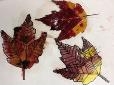 Real leaves mixed in with watercolored leaves...mod podge on all