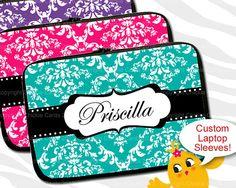 Items similar to Laptop Sleeve Custom Mac / Macbook Damask Name Monogram on Etsy Custom Laptop, Laptop Sleeves, Damask, Macbook, Unique Jewelry, Handmade Gifts, Pretty, Cards, Kid Craft Gifts