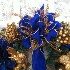 23 royal blue gold cherub christmas by tcrexquisiteflorals 6500 - Royal Blue And Gold Christmas Decorations