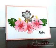 Cat in Hibiscus Tropical Card by Kimberly Rendino | Aloha Newton Stamp set & Hibiscus die set by Newton's Nook Designs #newtonsnook