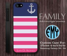 blue pink anchor monogram hard plastic case for by familymonogram, $15.99