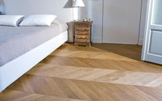 European Oak Chevron lacquered flooring