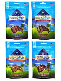 Blue Buffalo Treats Blue Bits Dog Treats - 4 Flavors (Savory Salmon, Tasty Chicken, Tender Beef, and Tempting Turkey) - 4 ounces each (4 Total Pouches)