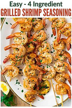 Perfect blend of spices for making the best easy grilled shrimp! Use this recipe for grilled garlic shrimp skewers in the summer or baked shrimp all year long. Grilled Garlic Shrimp, Grilled Shrimp Seasoning, Easy Grilled Shrimp Recipes, Shrimp Marinade, Grilled Shrimp Skewers, Seafood Recipes, Cooking Recipes, Baked Shrimp, Skewer Appetizers
