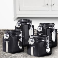 Storage box collection for your kitchen in black.