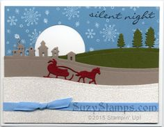 Stampin' Up! Christmas Cards - Jingle All the Way and Perpetual Birthday Calendar stamp sets and Sleigh Ride Edgelits Dies Christmas Card Pictures, Christmas Ideas, Holiday Cards, Christmas Cards, Perpetual Birthday Calendar, Jingle All The Way, Christmas Settings, Silent Night, Stamp Sets