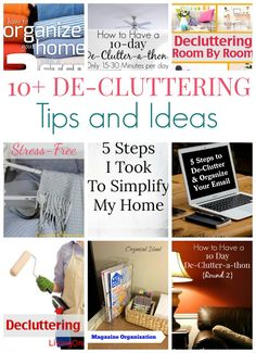Tons of De-Cluttering tips and ideas from many amazing blogs. With all of this inspiration, you'll be ready to get your own home de-cluttered and organized!