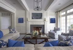Blue and White - Lynn Morgan Design #livingroom #blueandwhite