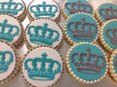 Elegant Crown cookies for a baby shower, tiffany blue and silver! Hayleycakes and cookies