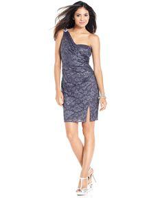 Onyx Dress, Sleeveless One-Shoulder Lace - Womens Dresses - Macy's